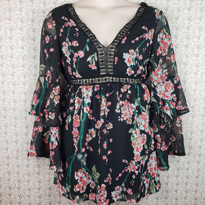 Jealous Tomato Black Floral Print Boho Shirt Dress